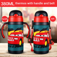3D cartoon Thermos Cup Kids Thermo Mok zachte siliconen Stro Geïsoleerde Drink Waterfles kart Thermoskan riem handvat Tumbler