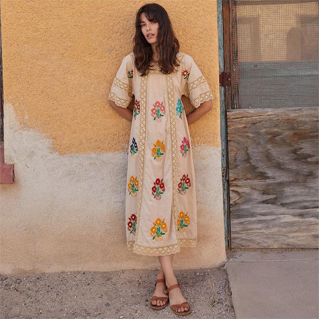Robe brodée florale Patchwork Crochet dentelle robes col carré manches courtes femmes robe Boho Hippie décontracté robes de plage