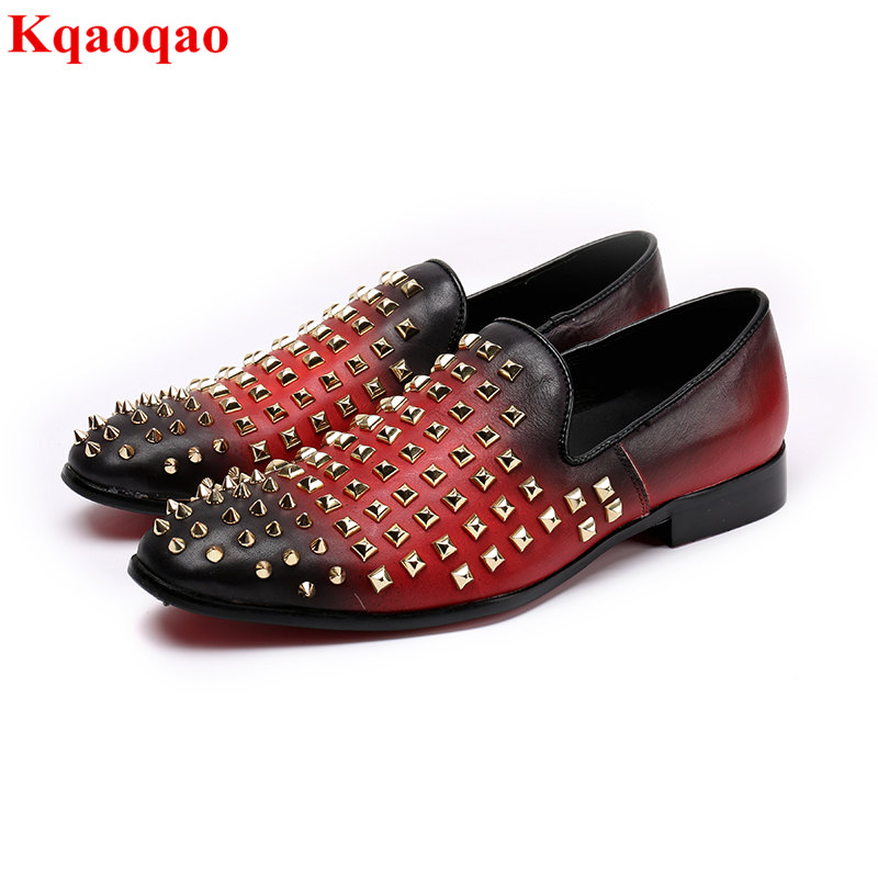 Rivets Embellished Retro Stylish Men Casual Shoes Low Top Heel Breathable Slip On Loafers Runway Star Shoes Hommes Chaussures stylish men s casual shoes with breathable and metal design