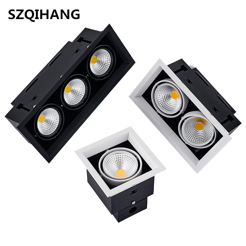 High quality Square 12W 2X12W 24W 3X12W 36W AR70 COB LED down light Double led Bean pot lamp Recessed Grille