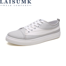 LAISUMK Canvas Shoes For Men New Arrival Spring Autumn Casual Mens Lace-Up Flat Fashion Loafers