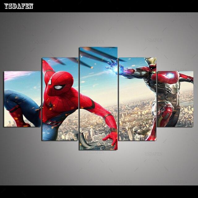 Transporte da gota HD 5 Arte Da Lona painel MV de ferro e spiderman fly Pintura Home decor Poster Imagem Para Sala de estar VH-999
