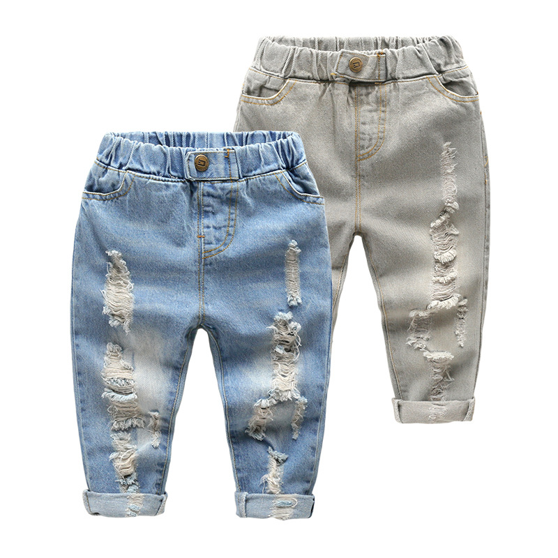 Age 2-6T Children Broken Hole Pants Cotton Casual Ripped Jeans For Kids Long Cute Blue/Grey Baby Girls Boys Denim Pants Trousers high quality mens jeans ripped colorful printed demin pants slim fit straight casual classic hip hop trousers ripped streetwear