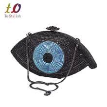 Oro evil eye mujeres bolsa de embrague bolso de noche de plata femme pochette bolsa de Cristal de lujo bling del partido del monedero del Embrague Del día SC023