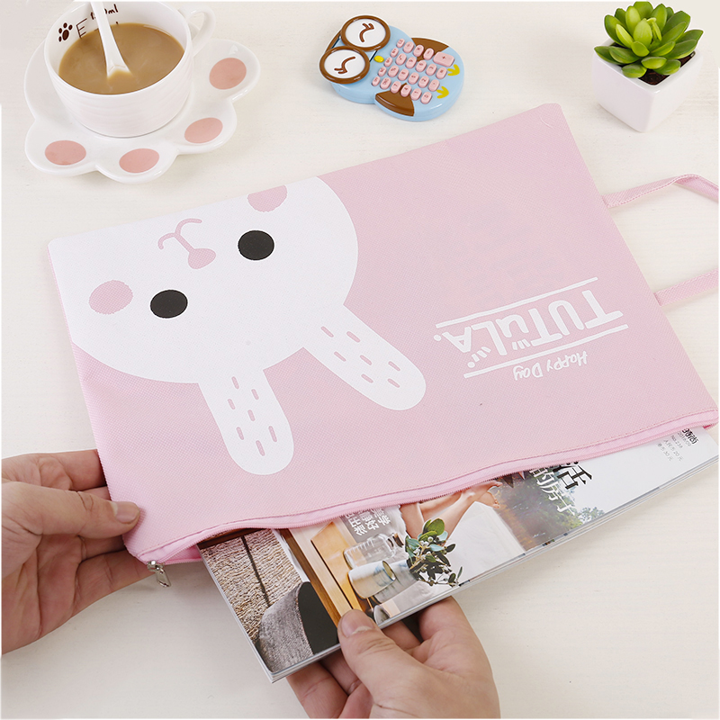 10Pcs Kawaii Cartoon Animal A4 Oxford Cloth File Holder File Pocket Stationery Document Bag School Supply Waterproof Bag