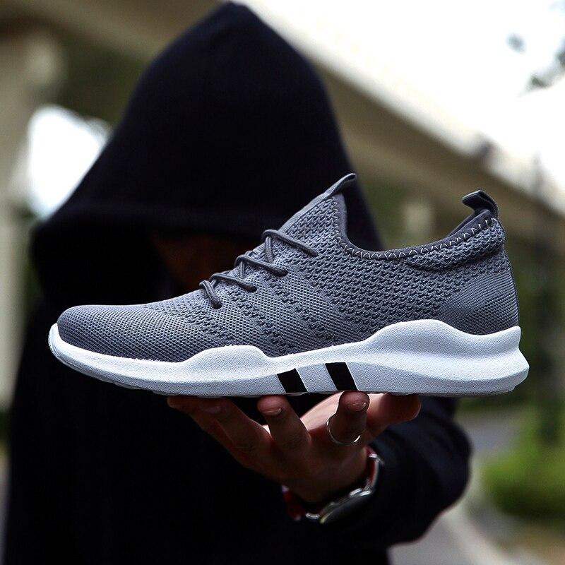 Горячая бренд Для мужчин Обувь Легкие дышащие кроссовки Slip-On повседневная обувь для взрослых модные обувь Hombre черный