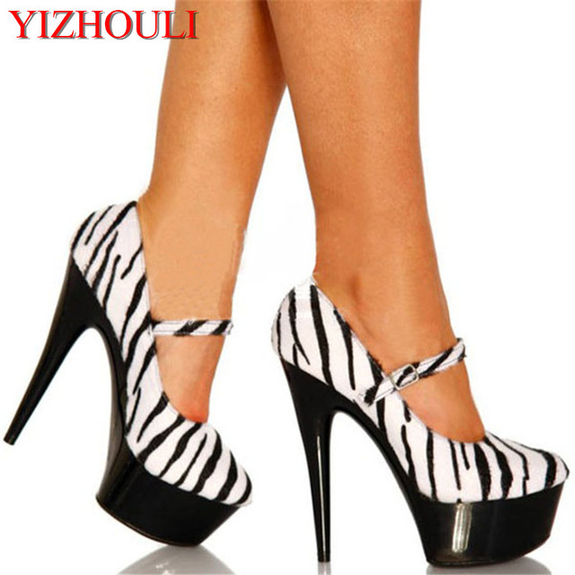 2018 new arrive fashion sexy women platform stilettos 6 inch high heel  zebra pumps and lace 15cm high-heeled shoes