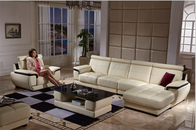 L Shape Sofa Set Designs With European Style For Living Room Bonded Leather