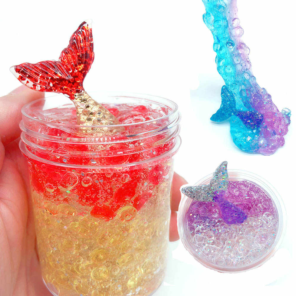 Toys Slime Crystal Mud clear galaxy slime Mermaid fish lizun handgum antistress toy for children kids Playdough slime Mud 60ml