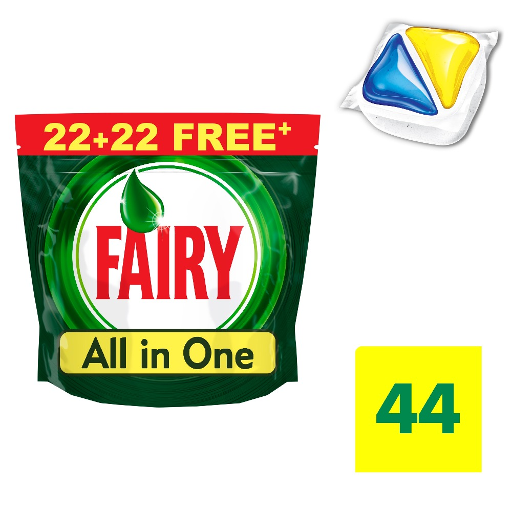 Lemon Dishwasher Tablets Fairy All In One Lemon (Pack of 44) Tableware Washing Dishes Detergents for Dishwashers assorted cute japanese dishes cellphone straps 3 pack