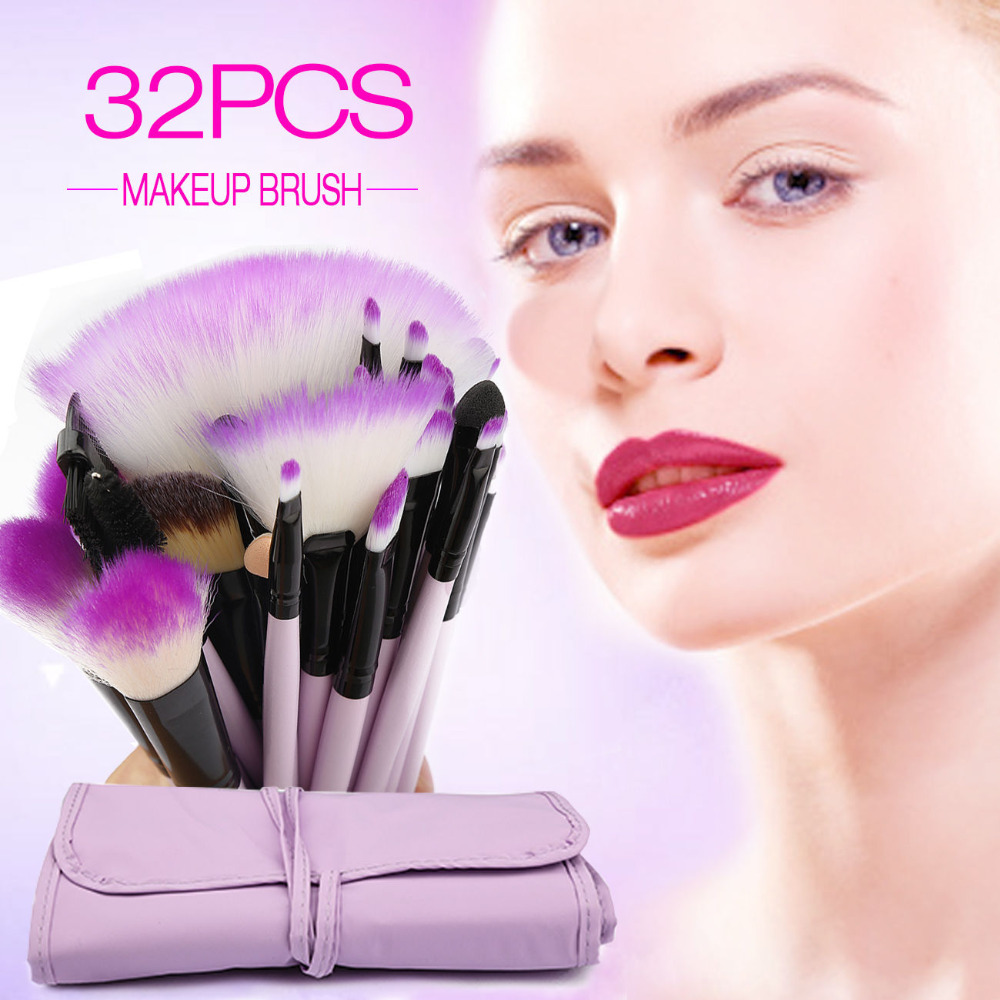 Vander 32 Pcs Pro Synthetic Makeup Set Powder Foundation Eyeshadow Eyeliner Lip Cosmetic Brushes Blush Maquiagem Purple 1 4pcs cosmetic makeup brushes set eyebrow eyeliner eyelashes lip makeup brush kits eyeshadow blush brushes pinceis de maquiagem