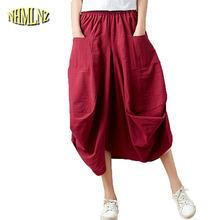 2019 Summer National Style skirts womens Clothes Cotton and linen women