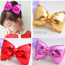 1pc Oversized leather Baby bow hair ring Children hair accessories Cute party girl Brilliant 3Dcortical filling cotton hairband