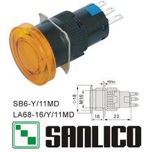 Interruptor de botão de cabeça de cogumelo iluminado xb6et la68 las1 lay16 sb6y/11md retorno momentâneo da mola 16mm