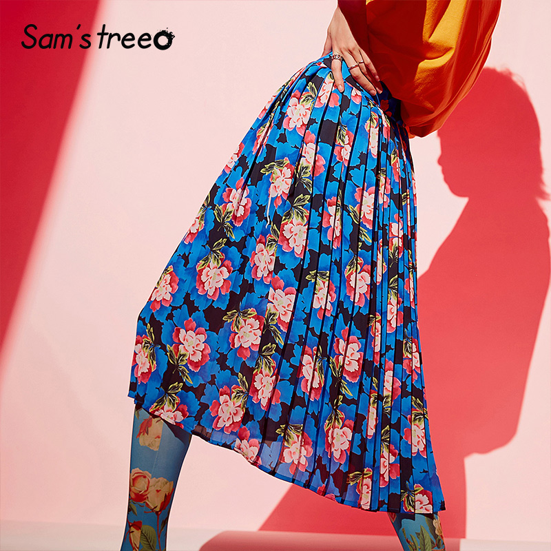 Samstree Summer Pleated Skirt 2019 Women A-line Vintage Flowers Print Loose Chiffon Skirt Plus Size Mid Calf Long Maxi Skirt