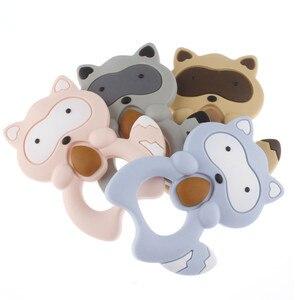 Image 2 - Großhandel Waschbären Silikon Koala Baby Beißring 10pc BPA FREI Neugeborenen Zahnen Halskette Dusche Geschenk Cartoon Tier Anhänger DIY Eule