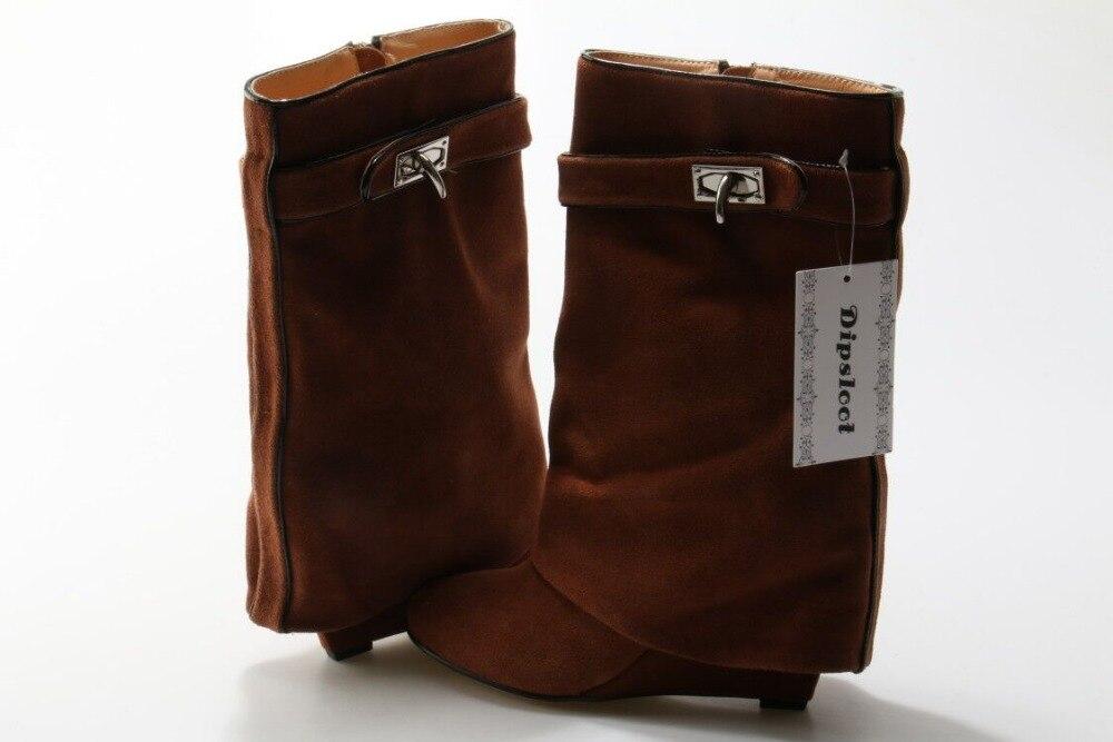 Dipsloot Top Venda 2017 Mulher Slip on Ankle Boots de Couro Camurça Dedo Apontado Altura Increassing Altas Cunhas Mulher Curto botas - 5