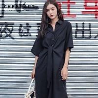 Cheerart Long Shirt Dress Women Casual Loose Black Dress Lace Up High Low Dress Fall 2018 Autumn Women Fashion Clothing