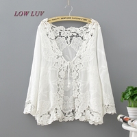 Lace Up Summer Tops Fashion 2017 Casual Loose Beach Kimono Cardigan Patchwork Crochet Lace Embroidery White Blouse Women Kimonos