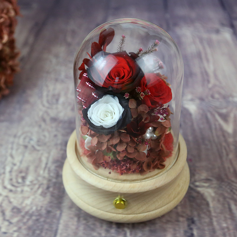 Immortal Flower Bluetooth Speaker Glow Music Box Valentine's Day Gift Glass Rose
