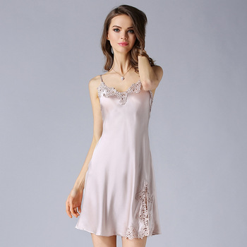 Nightgowns Women  100% Silk Embroidery Lace Spaghetti Strap V neck Adjustable Length 2 Colors Elegant Style All Season - discount item  45% OFF Women's Sleep & Lounge