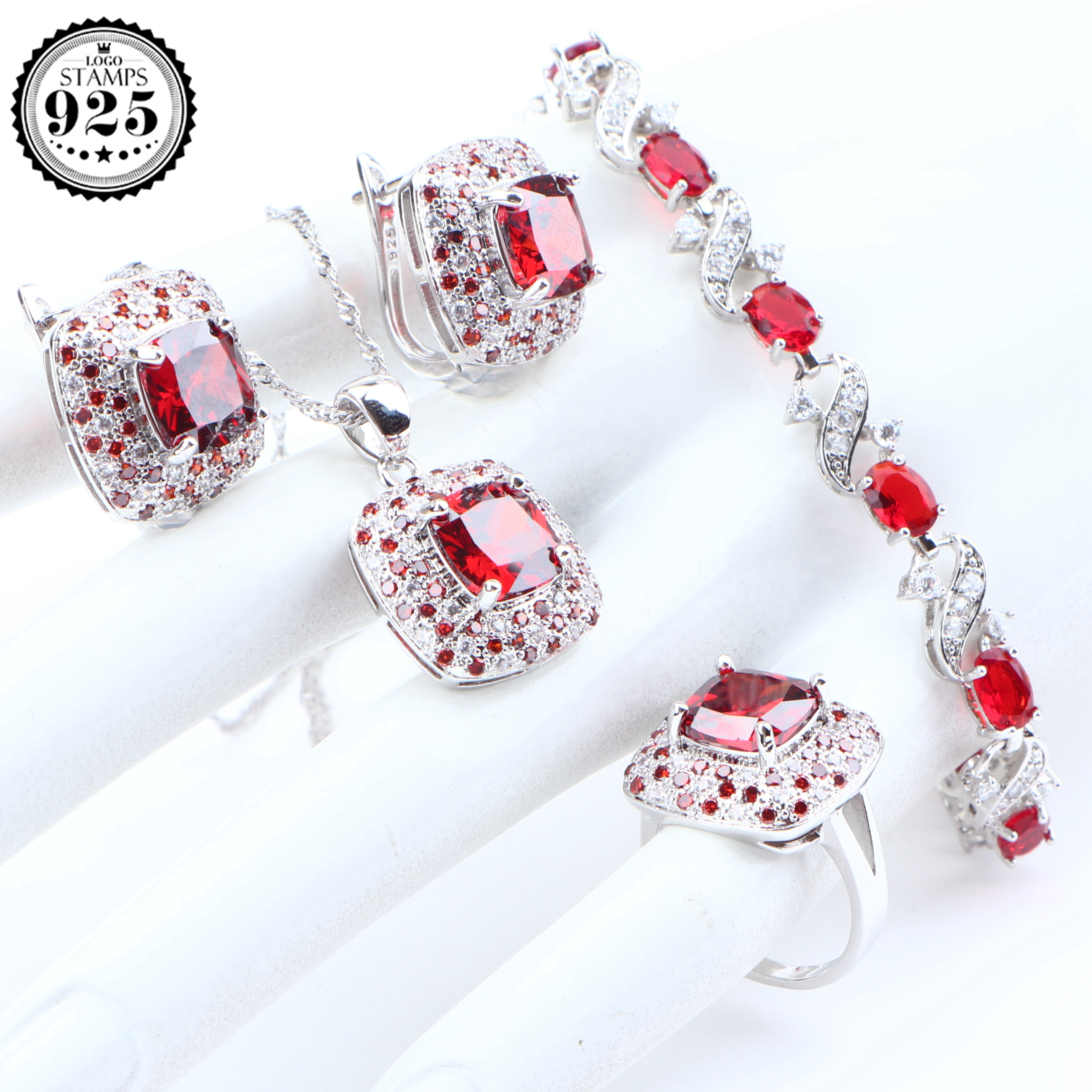 New Bridal Jewelry Sets 925 Sterling Silver  Wedding Jewelry Zirconia Earrings For Women Bracelet Rings Necklace Set Gifts Box