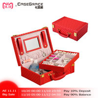 Casegrace exquisite red jewelry box PU leather woven pattern 2 layers rectangle trunk shape organizer portable storage box 01122