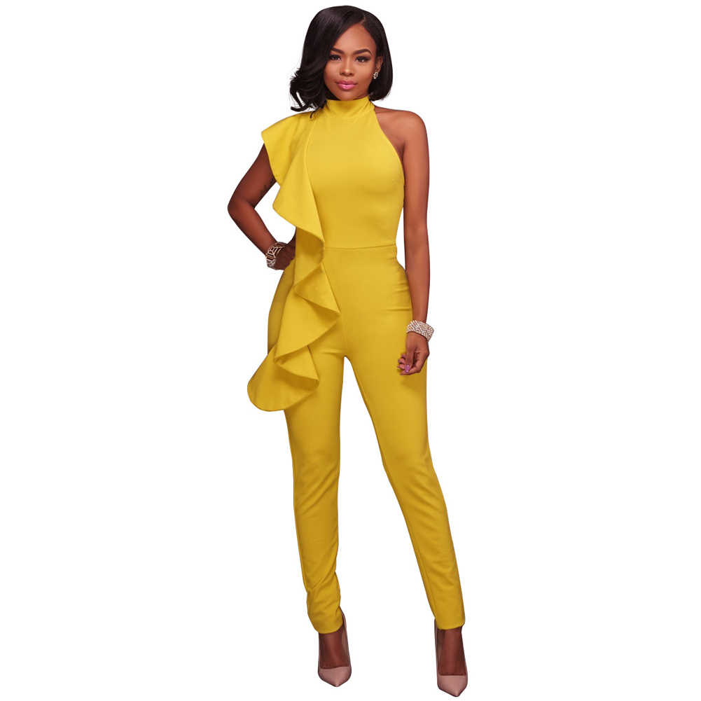 dec7ca5ce0ca New Fashion Sexy Winter Women Side Ruffle Cold Shoulder Jumpsuit High Neck  Sleeveless Playsuit Slim Party