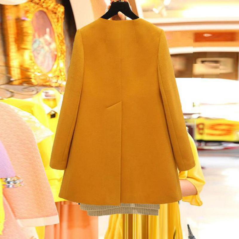 Image 4 - Plus Size Korean Coat Yellow Medium Long Black New 2019 Spring Autumn  Long Sleeved O neck Wool Coat Women Loose A aline CasacosWool & Blends   -