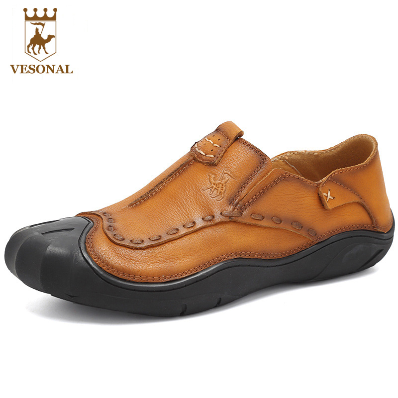VESONAL Brand Casual Shoes Men Loafers Adult Footwear Quality Ons Boat Soft Driving Genuine Leather Man Mocassin Male Walking vesonal brand casual shoes men loafers adult footwear ons walking quality genuine leather soft mocassin male boat comfortable