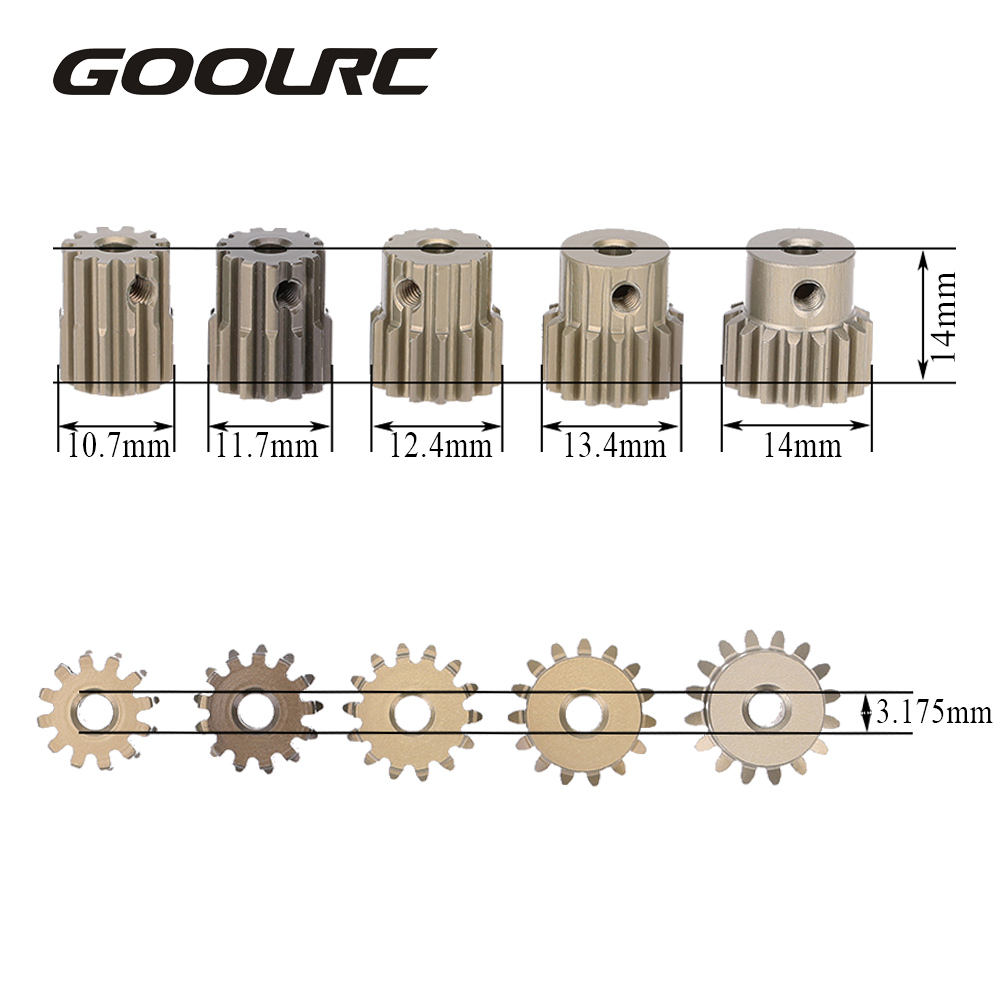 цена на High Quality GoolRC 32DP 3.175mm 12T 13T 14T 15T 16T Pinion Motor Gear Set for 1/10 RC Car Brushed Brushless Motor