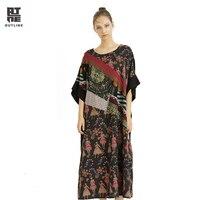 Контур Для женщин цветочный летний Повседневное плюс Кафтан платья с длинным рукавом пуловер с принтом карманов О шеи Лоскутная Свободные