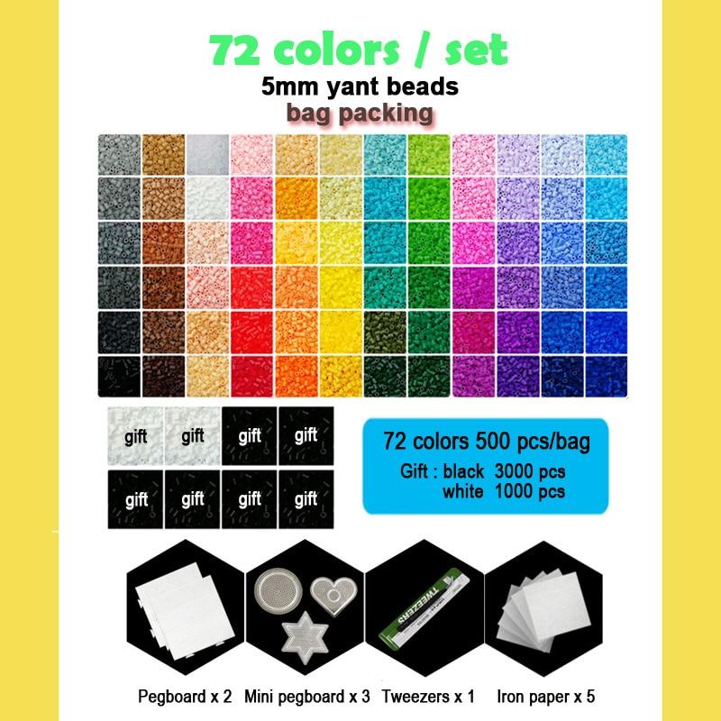 Yantjouet 5 мм Yant бисер 72 цвета/набор черно белый для детей Хама перлер бисер Diy пазлы высокое качество ручной работы Подарок детская игрушка - 2