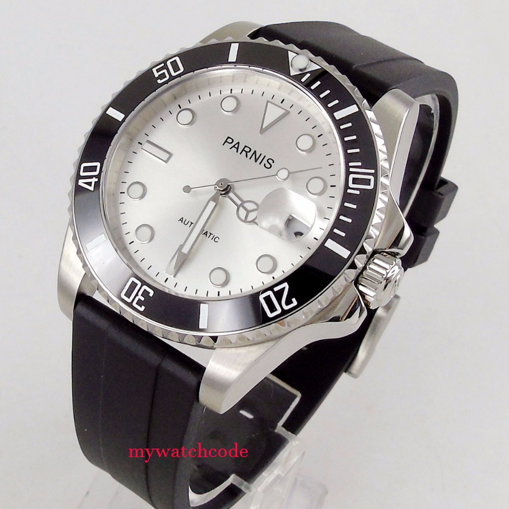 40mm Parnis white dial Sapphire glass 21 jewel Miyota automatic mens watch P462 40mm parnis white dial vintage automatic movement mens watch p25