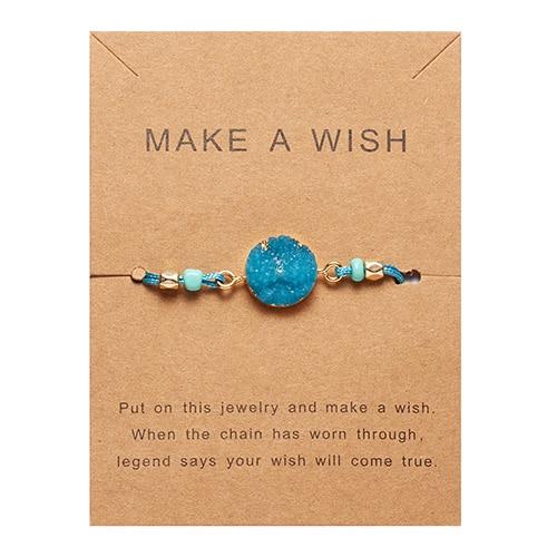Rinhoo загадать пожелание Красочный натуральный камень тканый бумажный браслет карта Регулируемый счастливый красный String браслеты Femme модные ювелирные изделия - Окраска металла: 2
