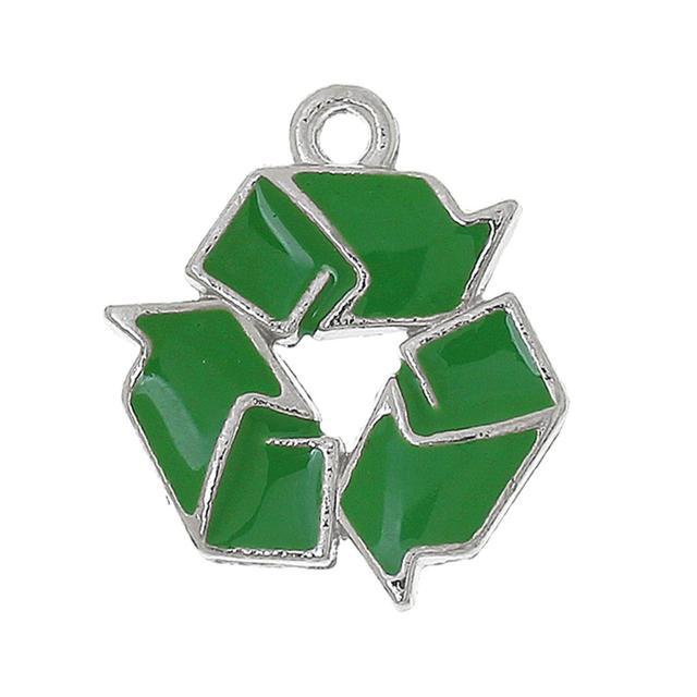 Doreenbeads Zinc Metal Alloy Charm Pendants Recycling Symbol Silver