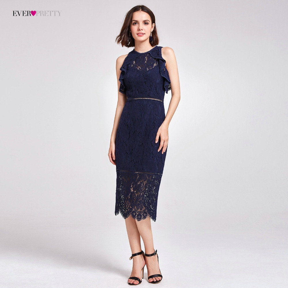 Hot Sale Cocktail Dresses Ever Pretty AS05920 Summer Dresses High Waist Lace Unique Straight Newest Party Dresses for Women