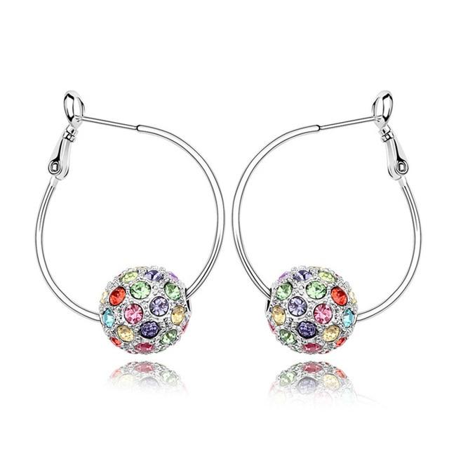 2 Options Austria Crystal Hoop Earrings Hip Hop Rock Earrings Disco Ball Jewelry Big Earrings Bijoux Women Birthday Gift EEH0098
