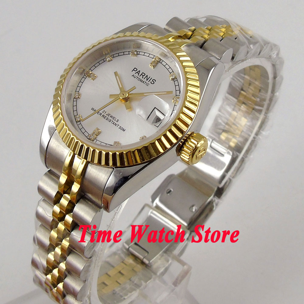 лучшая цена Parnis watch 26mm silver dial golden bezel sapphire glass 21 jewels MIYOTA Automatic movement wrist watch men women 996
