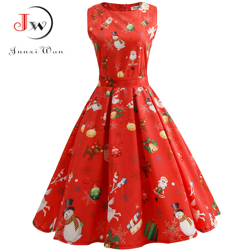 vintage dresses women casual elegant office work red christmas dress retro hepburn o neck sleeveless swing party dress plus size