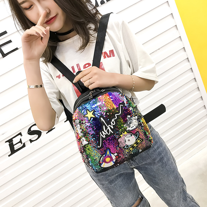 Meloke Mini Sequined Backpack With Cute Embroidery Backpacks For Women Girls Travelbag Bling Shiny Backpack School Backpack M163 #6