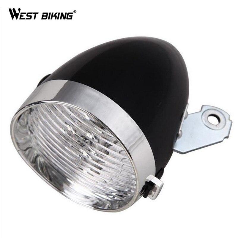 WEST BIKING Retro Bicycle 3 LED Front <font><b>Light</b></font> Cycling MTB Bike Waterproof Headlight Vintage Flashlight Night Riding Safety Lamps