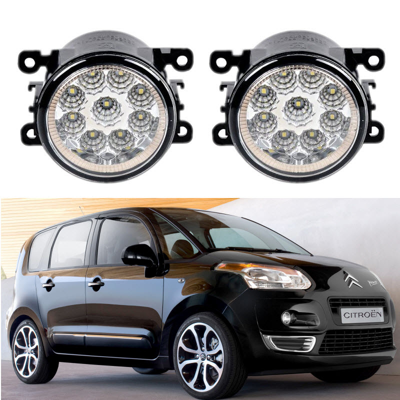 Car Styling 9 Led Fog Lights 12V 55W Fog Head Lamp For Citreon C3 Picasso 2009-2016 for lexus rx gyl1 ggl15 agl10 450h awd 350 awd 2008 2013 car styling led fog lights high brightness fog lamps 1set