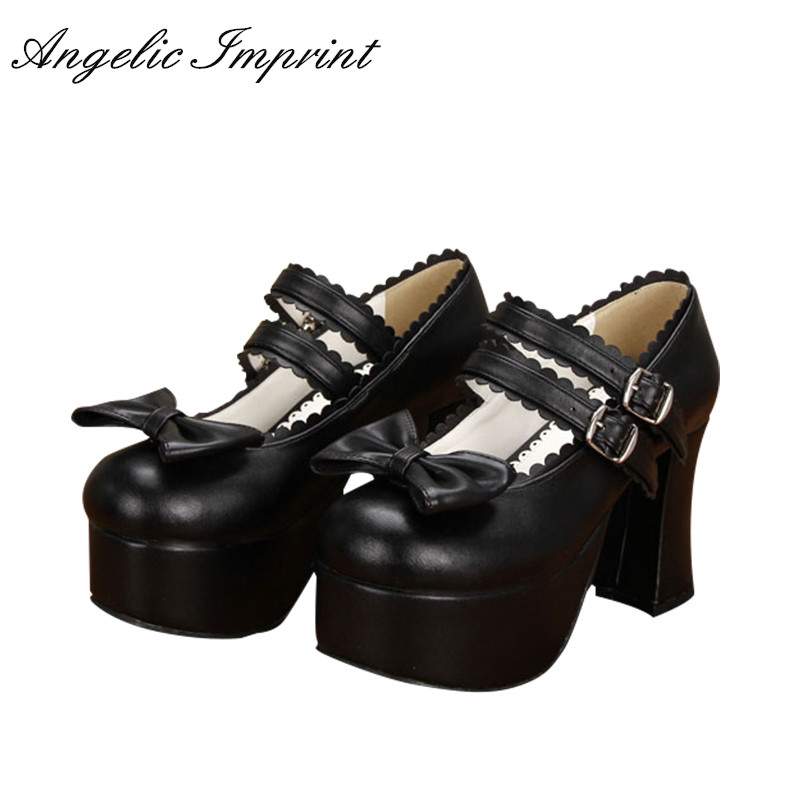 9.5cm Block High Heel Lolita Cosplay Shoes Black Leather Platform Mary Jane Shoes immensee