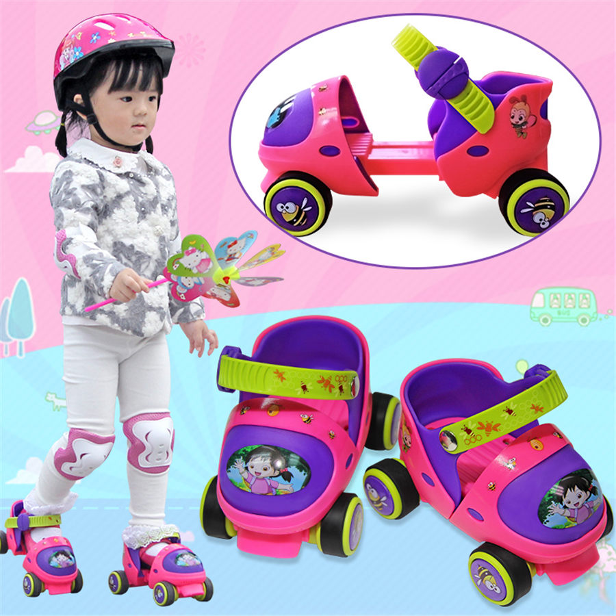 EUR size 20-30 Adjustable Children Roller Skates 2 Colors Double Row 4 Wheels Skating Shoes Kids Two Line Toy Patines Gifts Car eur size 20 30 adjustable children roller skates 2 colors double row 4 wheels skating shoes kids two line toy patines gifts car