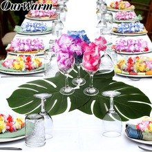 OurWarm Wedding Table Decoration 12set Artificial Palm Leaves and Hawaiian Garland Leis Flower Necklace Favors Gifts