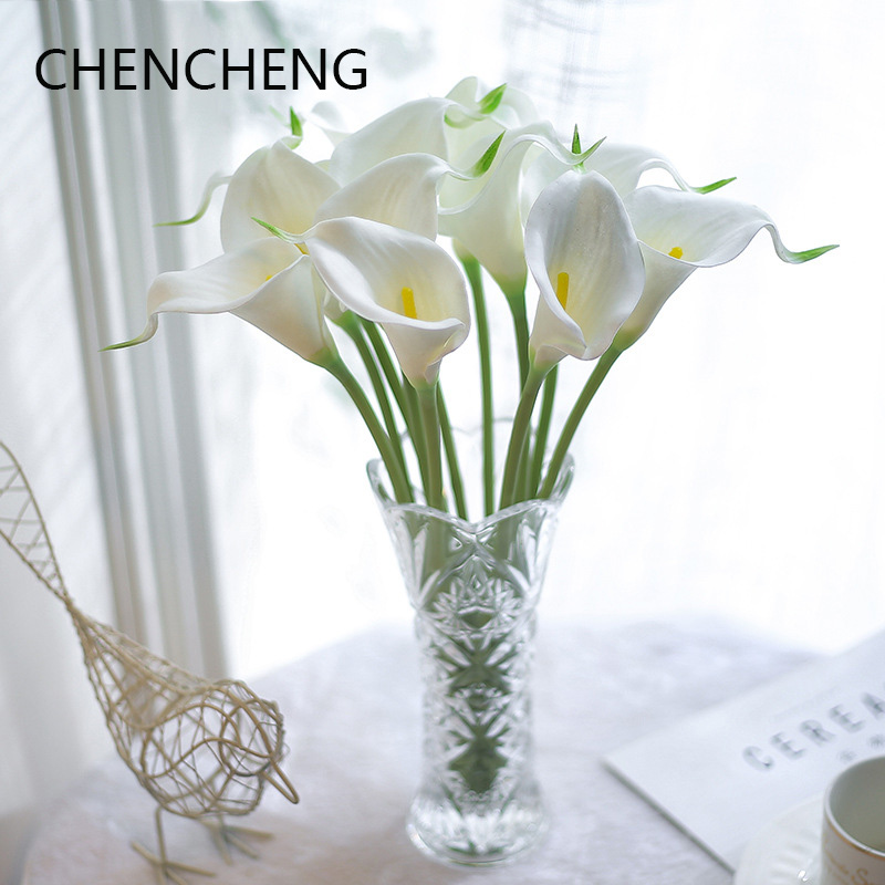 CHENCHENG 31 Pieces / Lot Real Touch Fake Flowers Artificial Calla Lily Wedding Bouquets Hotel Home Christmas Party Fall Decor