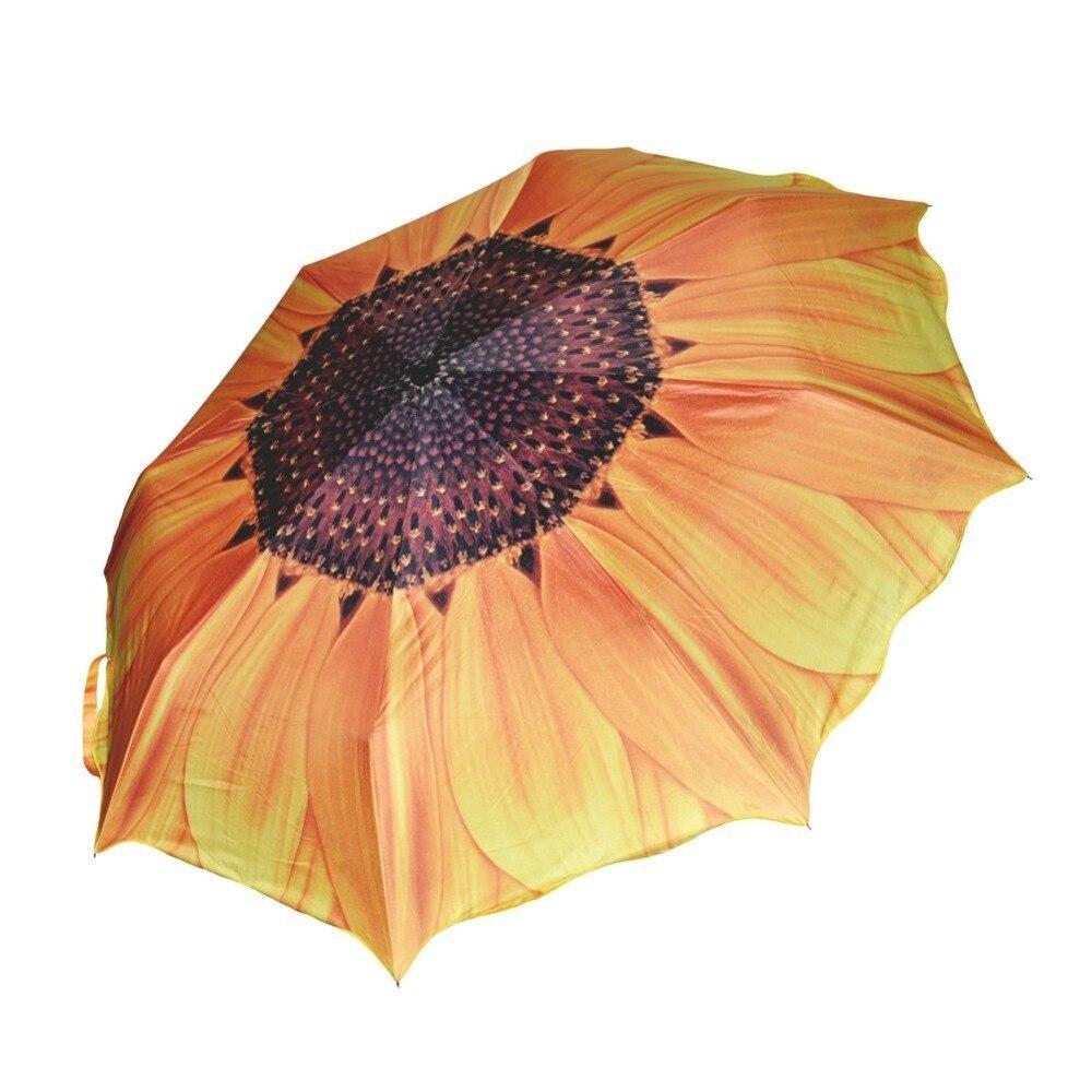Зонтик дождь Для женщин 3D подсолнечника 24 см три складной ветрозащитный Anti UV Зонтик Солнечный дождливый Для женщин зонтик Корабль из России ...