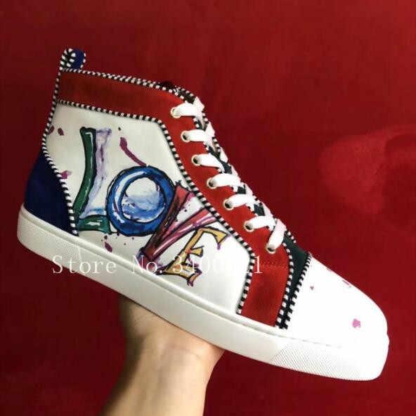 d6aafb150 ... Элитный бренд граффити кожаные высокие Superstar Sapatos Мужская Обувь  На Шнуровке Туфли без каблуков кроссовки Zapatos ...