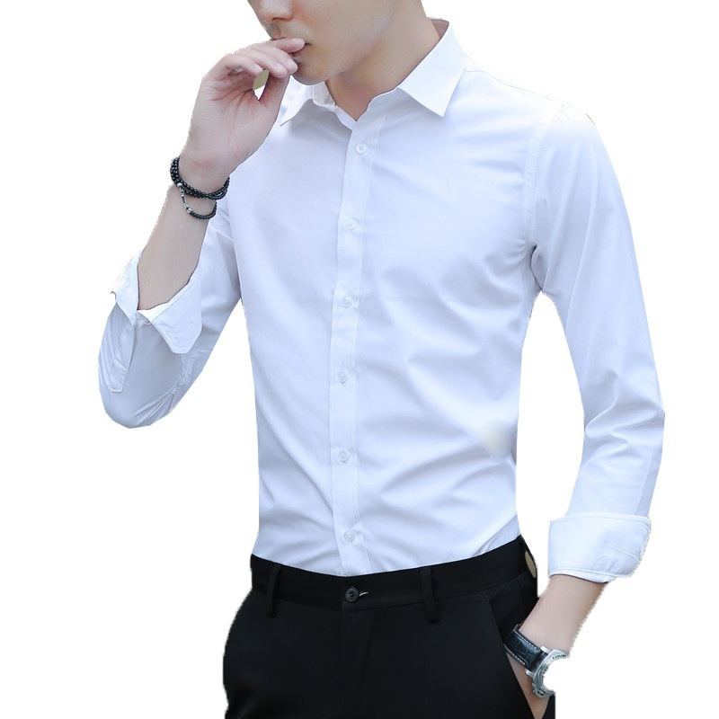 White shirt men's long-sleeved Slim-free solid color professional business dress work to work white men's suit shirt
